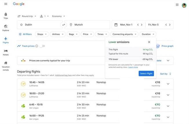 Showing Google Flights information